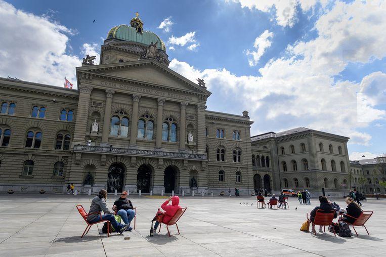 Het parlementsgebouw in Bern, vorige week.   Beeld AFP