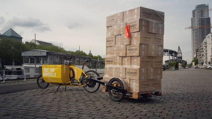 Een Urbike fiets met palet