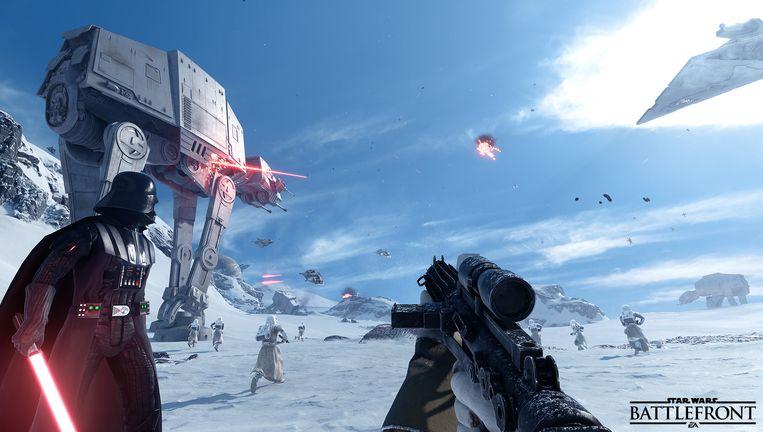 In de game kruip je in de rol van een soldaat en lever je strijd in de 'echte' wereld van 'Star Wars'. Beeld rv