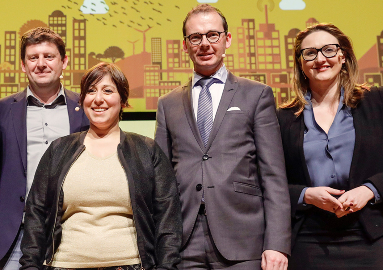John Crombez (sp.a), Meyrem Almaci (Groen), Wouter Beke (CD&V) en Gwendolyn Rutten (Open Vld) staan allemaal voor voorzittersverkiezingen. Beeld BELGAIMAGE