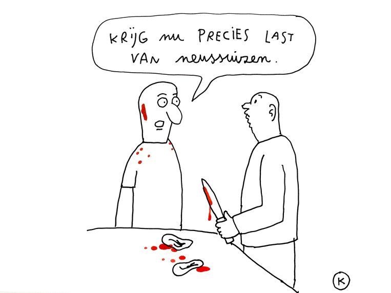 'Tinnituspatiënten hebben er alles voor over om ervan af te raken: een cliënt van mij heeft 1.500 euro betaald' Beeld Kamagurka