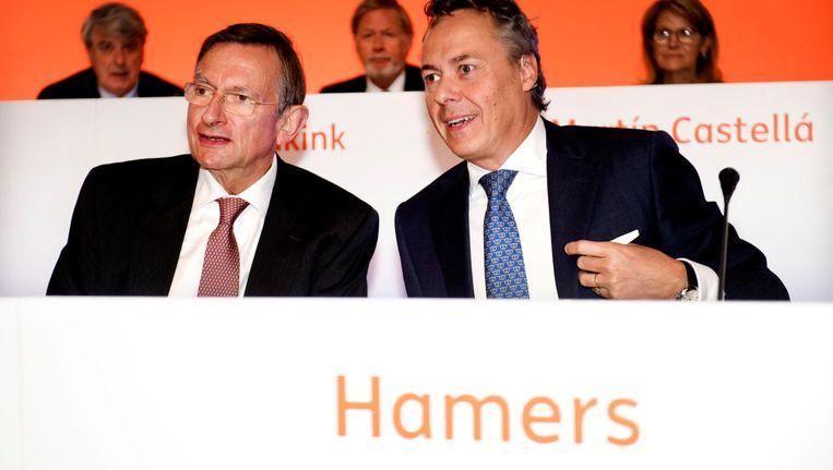 Ralph Hamers, hier rechts naar president-commissaris Jeroen van der Veer Beeld anp