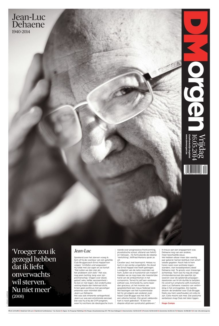 16 mei 2014. Afscheid van Jean-Luc Dehaene. Beeld dm
