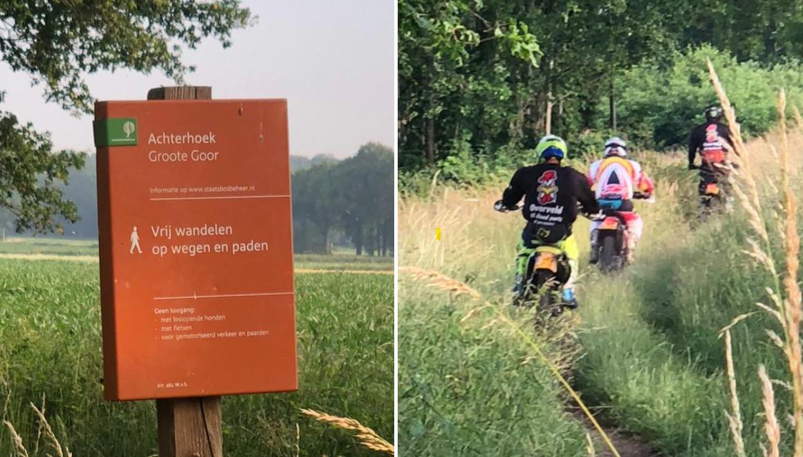 Wildcrossers in het Groote Goor bij Winterswijk. In dit natuurgebied is het alleen toegestaan te wandelen. Fietsen, paarden, loslopende honden en gemotoriseerd verkeer mogen er niet komen.