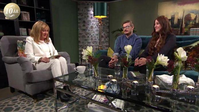 Het koppel op de Zweedse televisie.
