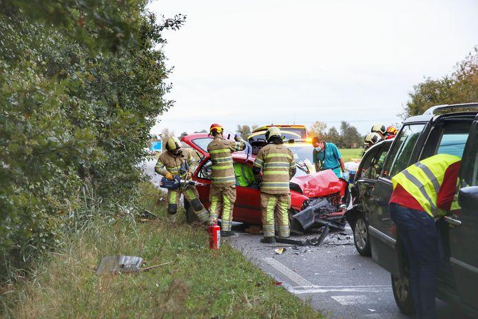 De brandweer moest een automobilist bevrijden