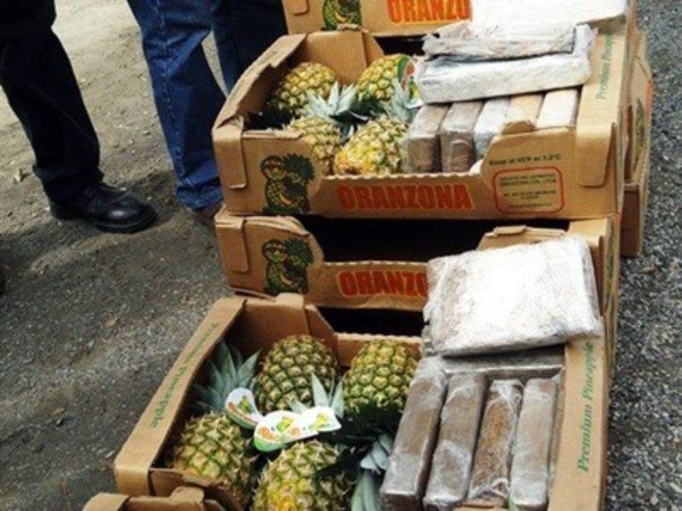 Cocaïne verstopt tussen ananas werd in januari 2018 ontdekt. Beeld AFP