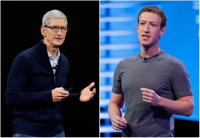 Apple-CEO Tim Cook en Mark Zuckerberg, baas van Facebook.