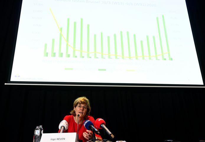 Inge Neven, jeudi en conférence de presse, à Bruxelles