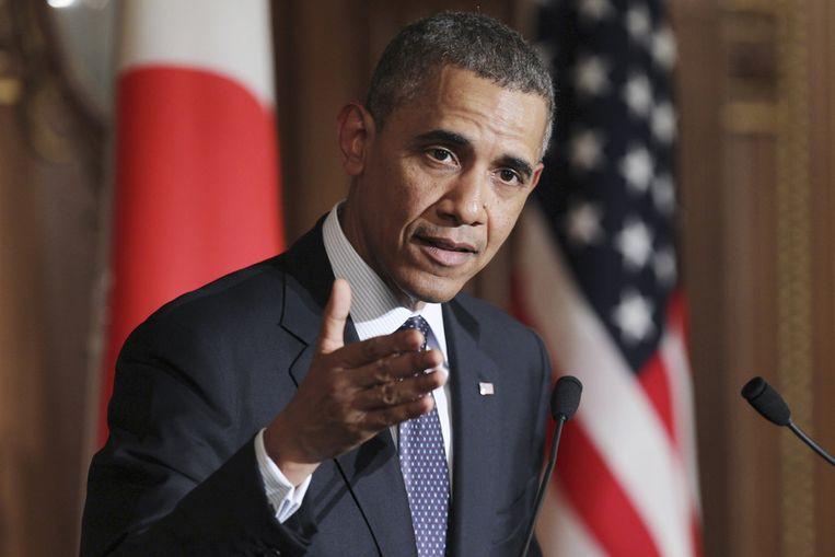 Obama tijdens zijn persconferentie in Japan. Beeld AP