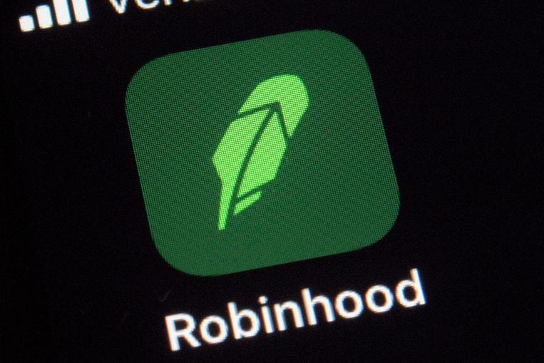 Het logo van handelsapp Robinhood. Beeld AP
