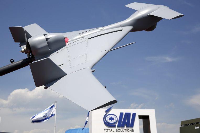 De Israëlische kamikazedrone Harop. De grote versie is in feite een bom van 15 kilo zwaar, de kleinere is twee tot drie kilo zwaar. Beeld EPA