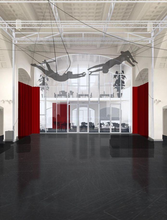 In het eerste gedeelte haalt Circusplaneet acrobatieën uit, achter het glas komt de foyer.