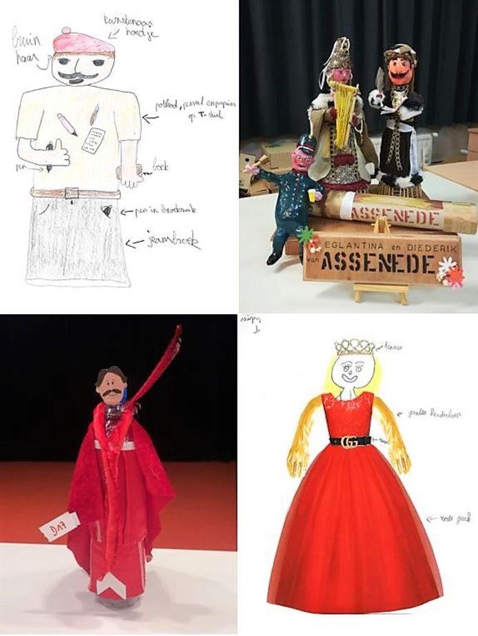 De vier winnende ontwerpen. Daar gaan naaisters nu mee aan de slag.