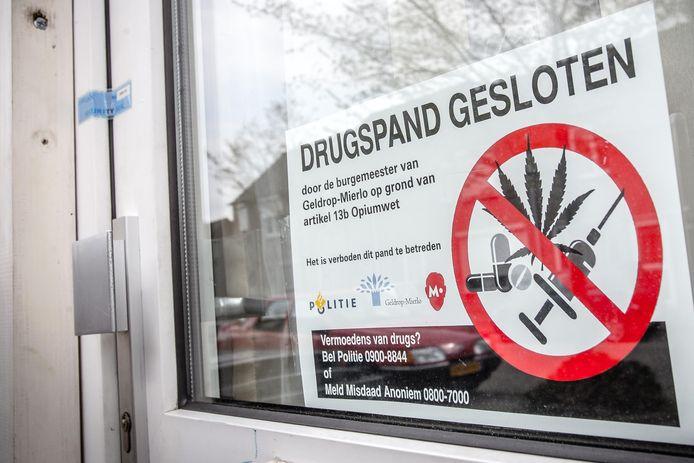 Op basis van de Wet Damocles kunnen burgemeesters panden sluiten als daar drugs aanwezig zijn of verhandeld worden. Deze foto werd eerder gemaakt in Geldrop-Mierlo.