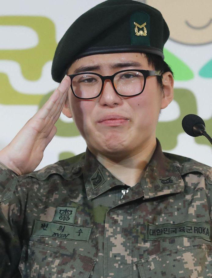 Byun Hee-soo sprak een jaar geleden geëmotioneerd op een persconferentie over haar ontslag uit het leger.
