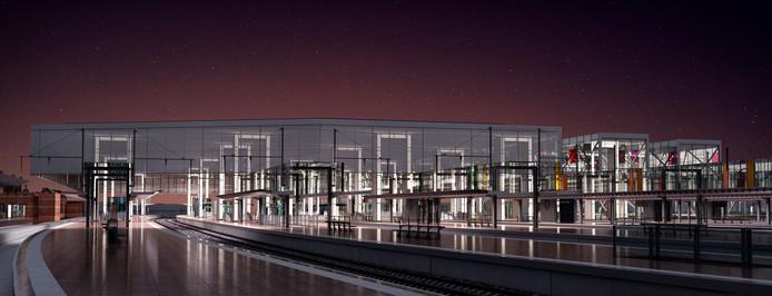 Nachtbeeld van het station Gent Sint-Pieters: rechts perron 11 en 12 met elk een aparte glazen luifel, de andere perrons krijgen één grote overkapping.