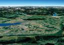 Het Meer van Genève met in blauw de oude deeltjesversneller en in rood de geplande nieuwe.
