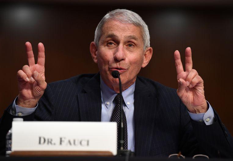 Dokter Anthony Fauci kwam eind juni getuigen voor een Amerikaanse senaatscommissie. Beeld EPA