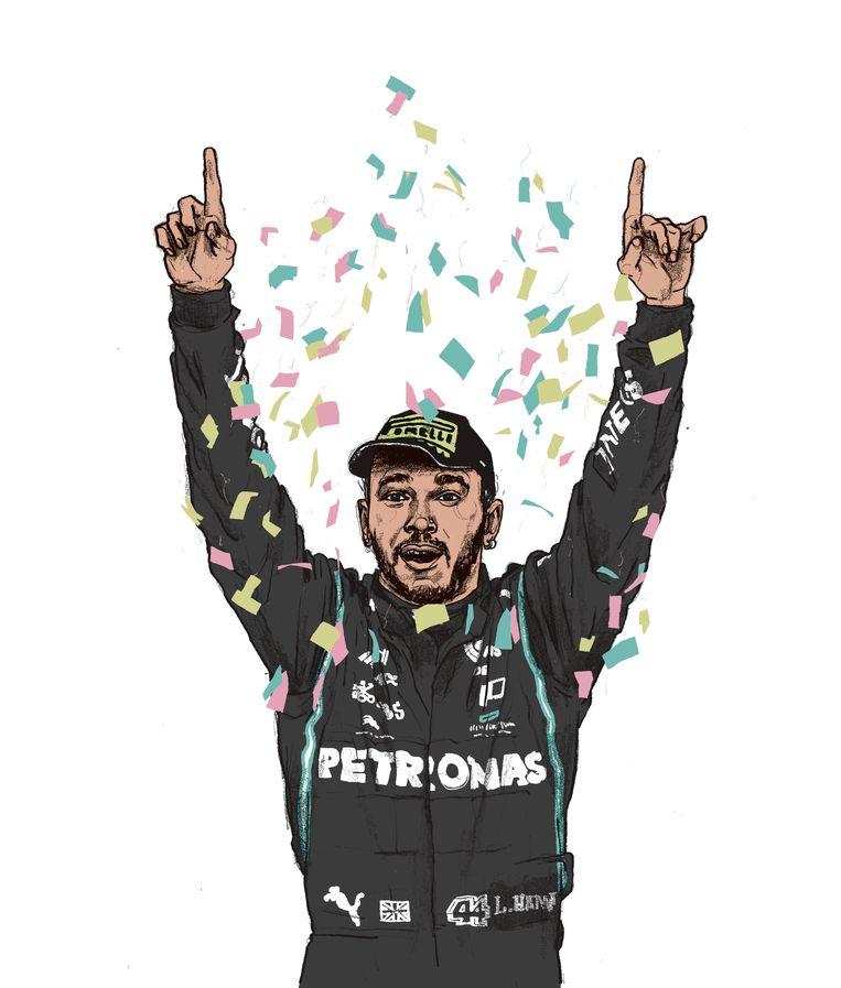Lewis Hamilton: 'Het volstaat niet dat ik als zwarte rijder wedstrijden win. Dat is niet wat diversiteit moet zijn.'   Beeld Gijs kast