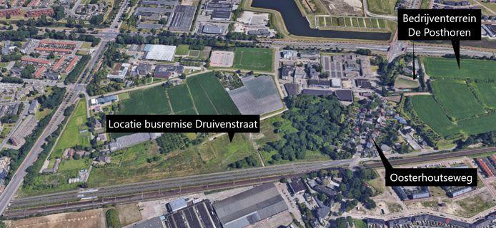 De locatie van de nieuwe busremise aan de Druivenstraat in Breda.