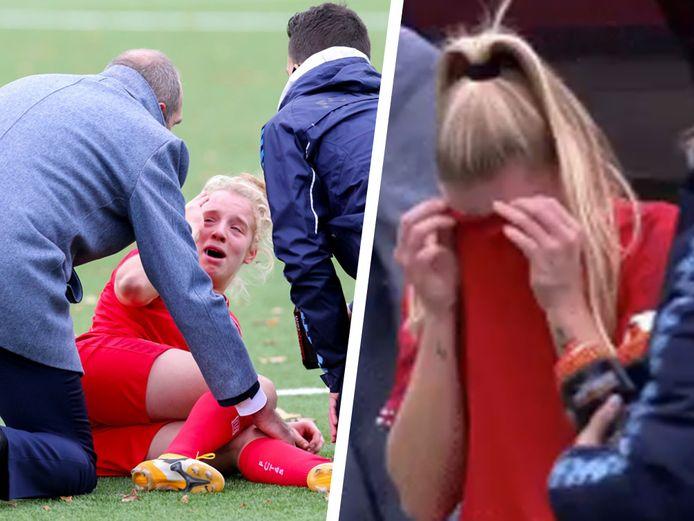 Elena Dhont loopt een mogelijk zware knieblessure op. Haar ploegmaats barsten uit in tranen.