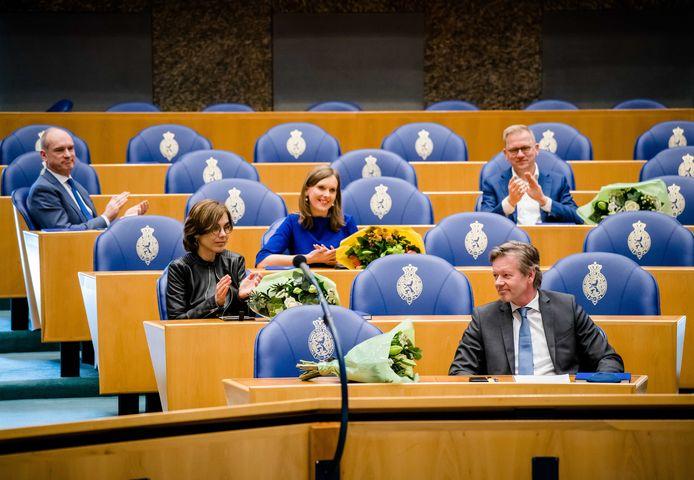 Joel Voordewind (CU) tijdens het afscheid van de oude Kamerleden.
