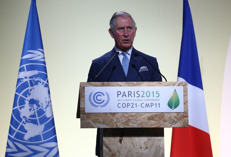 Ook de Britse prins Charles gaf een toespraak bij de opening van de klimaattop. Beeld GETTY