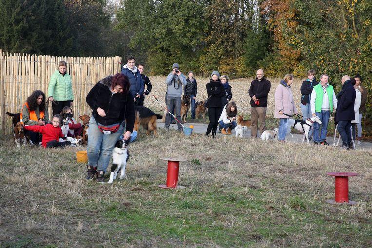 De baasjes en hun honden worden onder andere getrakteerd op een doggy dance tijdens de opening.