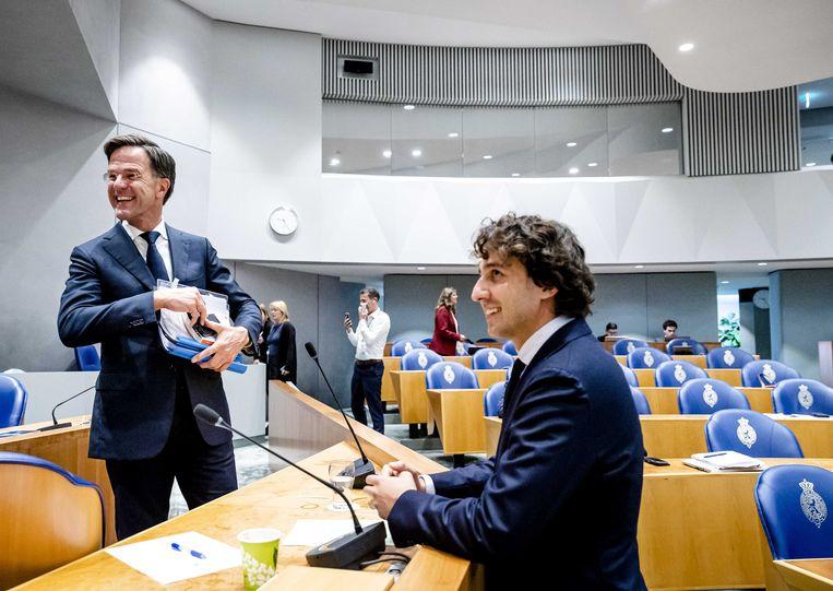 Demissionair premier Mark Rutte en Jesse Klaver (GroenLinks) tijdens de tweede dag van de Algemene Politieke Beschouwingen, het debat na de Troonrede op Prinsjesdag.  Beeld ANP