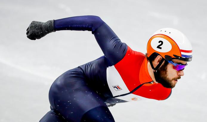 Sjinkie Knegt tijdens de kwalificatie 500 meter shorttrack in de Ice Arena tijdens de Olympische Winterspelen van Pyeongchang.