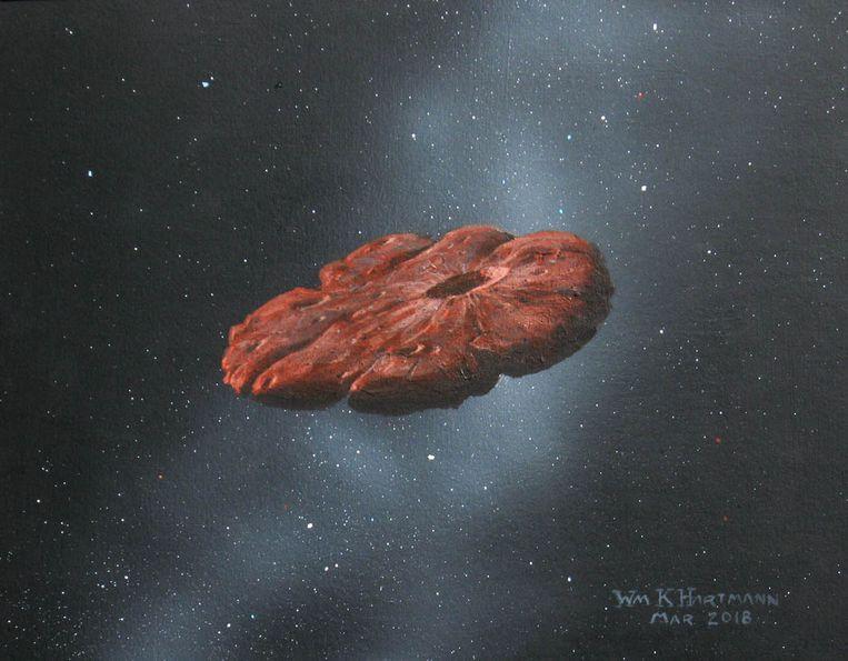 Tekening van pannenkoekvormige 'Oumuamua.  Beeld Artist's impression: William Hartmann