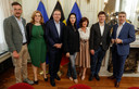 De Brusselse onderhandelaars Pascal Smet (one.brussels-sp.a), Elke Van den Brandt (Groen), Rudi Vervoort (PS), Zakia Khattabi (Ecolo), Laurette Onkelinx (PS), Sven Gatz (Open Vld) en Olivier Maingain (DeFi).