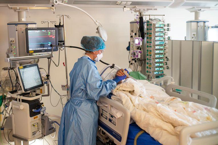 Een coronapatiënt op de intensive care van het VUmc. Beeld Marc Driessen