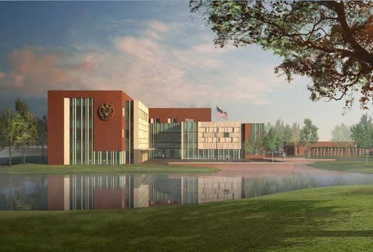 Een sfeerimpressie van de nieuwe Amerikaanse ambassade. Het uit zes gebouwen bestaande complex telt liefst 11.000 vierkante meter