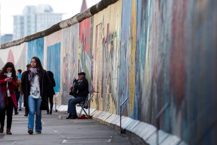 De East Side Gallery in Berlijn, het langste bewaarde stuk van de Berlijnse Muur, als herinnering aan de tweedeling van de stad.