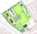 Plattegrond van het nieuwe Urban Sport Park 't Schoot aan de Elburglaan (linksboven) en Halvemaanstraat (rechtsonder) in Eindhoven.