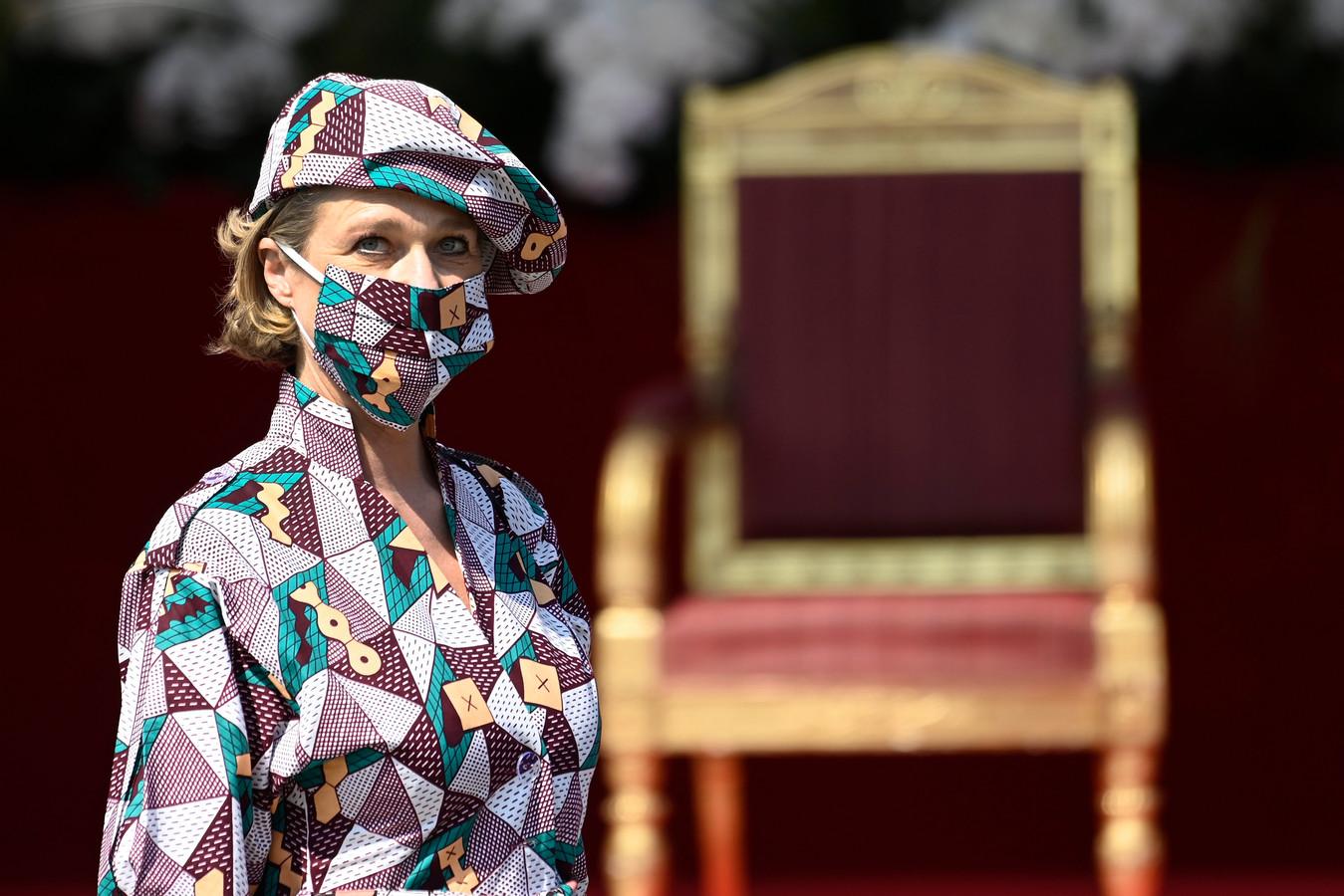 Prinses Delphine tijdens het jaarlijkse défilé ter ere van de nationale feestdag.