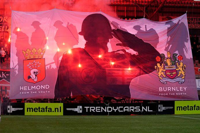 Helmond Sport-fans hielden rondom de wedstrijd Helmond Sport - TOP Oss diverse sfeeracties.