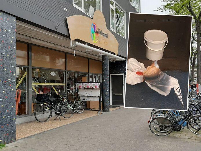 Kringloopwinkel Nieuw Geluk aan de Vechtstraat in Zwolle, waar een doos met het strottenhoofd voor de deur stond.