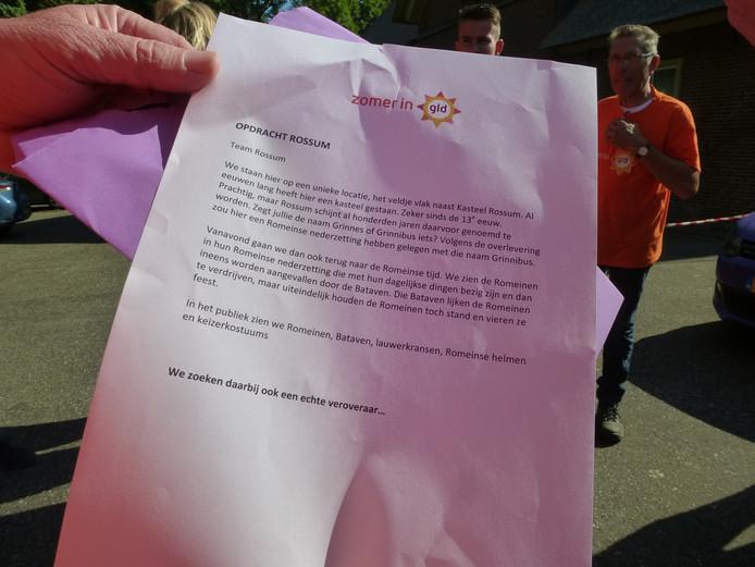 De brief met de opdracht van Omroep Gelderland.