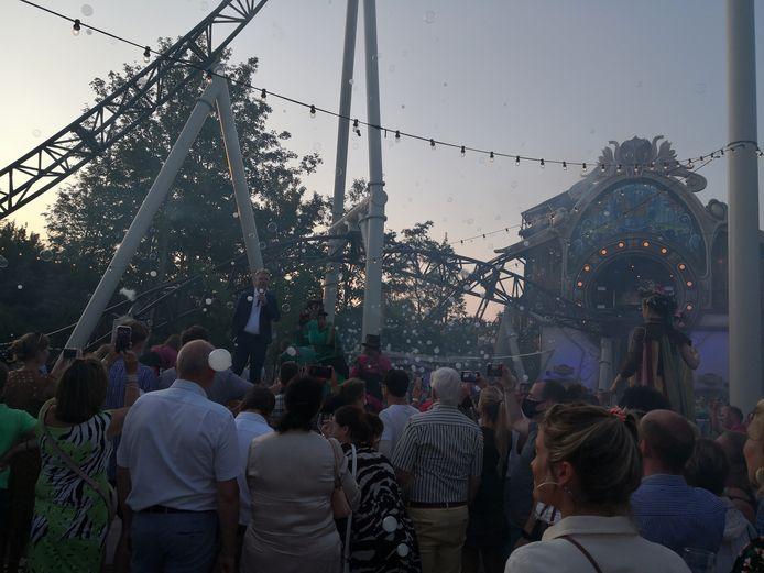 Officiële opening van 'The Ride to Happiness by Tomorrowland'. Plopsa ceo Steve Van den Kerkhof spreekt de genodigden toe