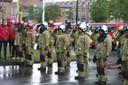 Brandweerpost Gent houdt een minuut stilte voor hun overleden collega's.
