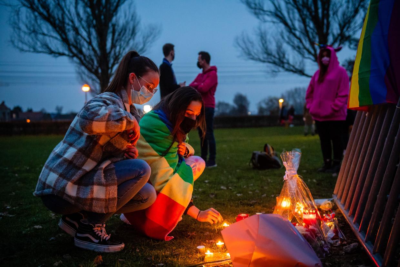 Wake voor de vermoorde David Polfliet in Beveren.  Beeld Gregory Van Gansen / Photo News