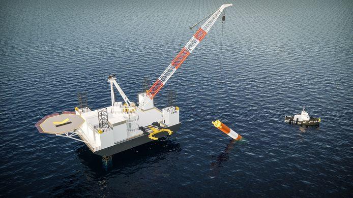 Het Oldenzaalse ingenieursbureau KENC heeft een stalen net ontwikkeld dat wordt gebruikt bij de plaatsing van fundatiepalen voor windparken op zee.