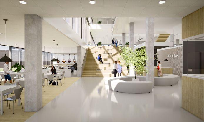 Interieur van het nieuwe Almende College in Silvolde, met links het restaurant.