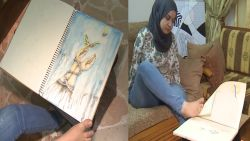 Syrische vrouw zonder handen wil beroemde tekenares worden