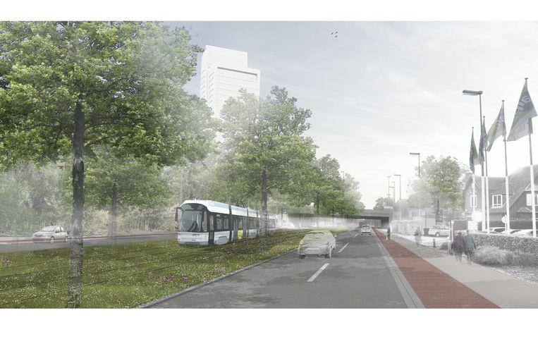 Een toekomstbeeld van tram 7 aan de Kortrijksesteenweg