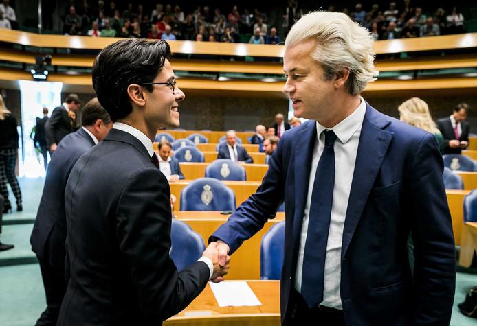 Rob Jetten (D66) en Geert Wilders (PVV) tijdens het wekelijkste vragenuurtje in de Tweede Kamer.