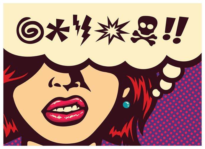 Pop art style comics panel angry woman grinding teeth with speech bubble and swear words symbols vector illustration